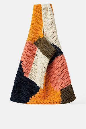 Zara Wielobarwna bawełniana torba typu shopper