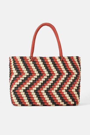 Zara Trójbarwna torba typu shopper z plecionki papierowej
