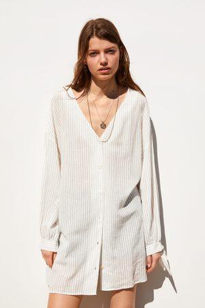 Zara Koszula z tkaniny rustykalnej