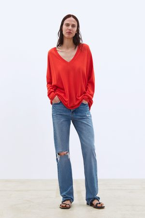 Zara Obszerny sweter w serek
