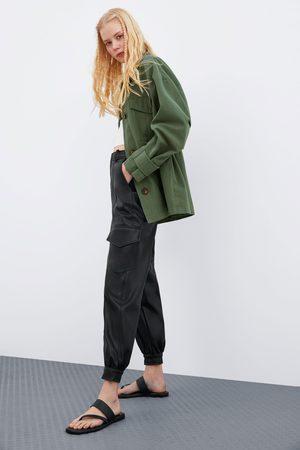 Zara Spodnie ze sztucznej skóry z kieszeniami