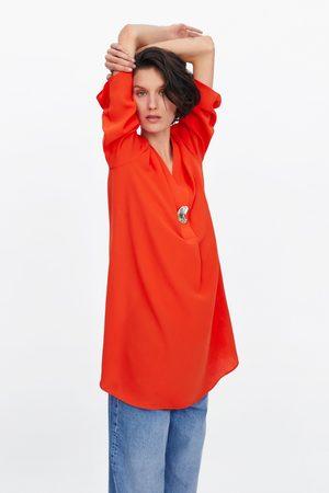 Zara Sukienka z metalowym guzikiem