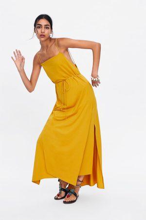 Zara Sukienka w stylu bieliźnianym z rozcięciami