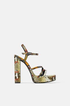 Zara Sandały na wysokim obcasie w zwierzęcy deseń