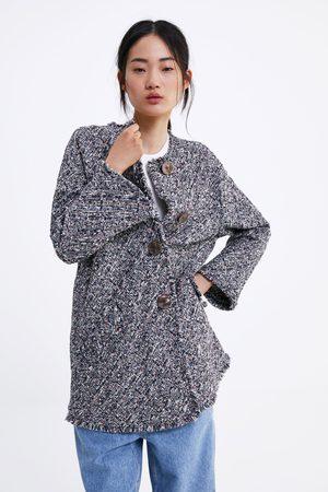 Zara Tweedowy płaszcz z zapięciem na guziki