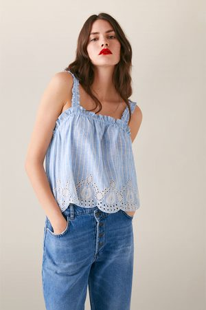 Zara Striped top with embroidery