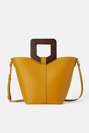 Zara Sztywna torba typu shopper z rączkami z tworzywa imitującego drewno