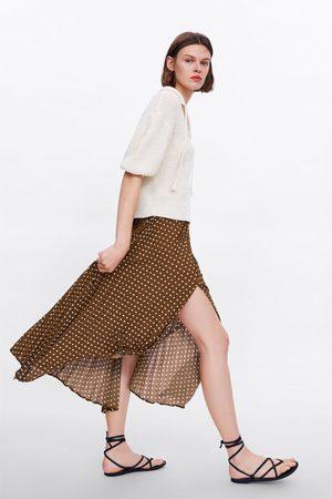 Zara Polka dot pleated skirt