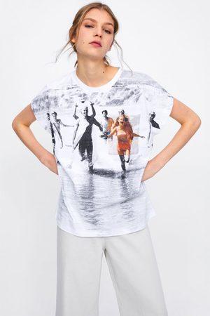 Zara Koszulka z nadrukiem i kieszenią