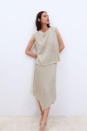 Zara Asymetryczna spódnica z dzianiny