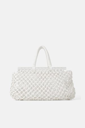 Zara Siateczkowa torba typu shopper ze zdobieniem z metakrylanu