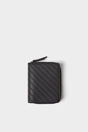 Zara Czarna portmonetka z niebieskimi wstawkami