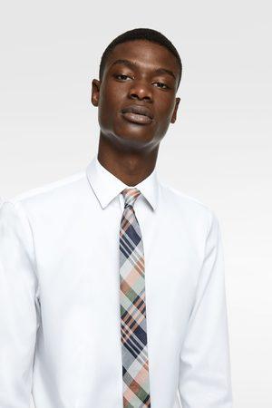 Zara Wąski żakardowy krawat w kratę