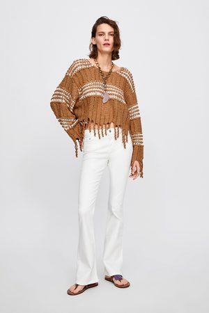 Zara Spodnie jeansowe zw premium skinny flare white