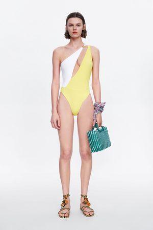 Zara Asymetryczny kostium kąpielowy z barwnymi wstawkami
