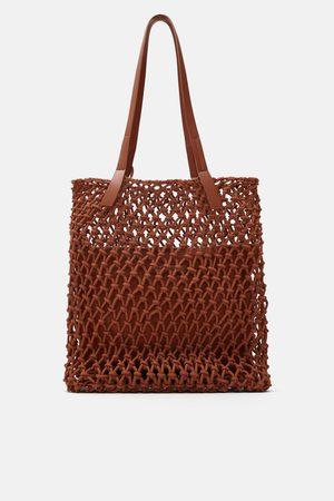 Zara Tekstylna torba typu shopper w stylu makramowym