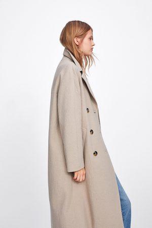 Zara Kobieta Płaszcze - Długi dwurzędowy płaszcz