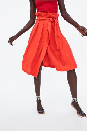 Zara Spódnica średniej długości typu paperbag