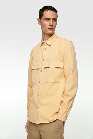 Zara Jednobarwna jeansowa kurtka koszulowa