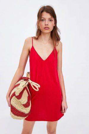 Zara Sukienka w stylu bieliźnianym z tkaniny satynowanej