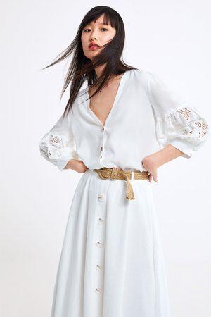 Zara Bluzka z haftem na rękawach
