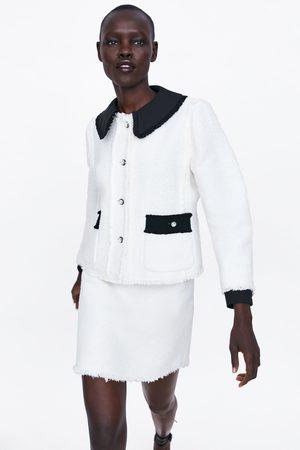 Zara Kurtka z łączonych tkanin z biżuteryjnymi guzikami