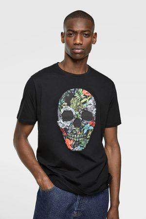 Zara Koszulka z czaszką z łączonych tkanin