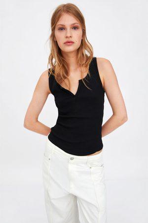 Zara Koszulka z tkaniny strukturalnej na ramiączkach