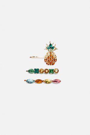 Zara Komplet spinek do włosów z ananasem i biżuteryjnym zdobieniem