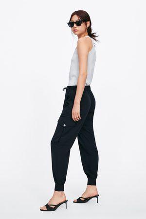Zara Spodnie joggery z kieszeniami