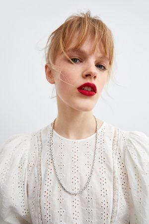 Zara Ażurowa koszula z haftem z łączonych tkanin