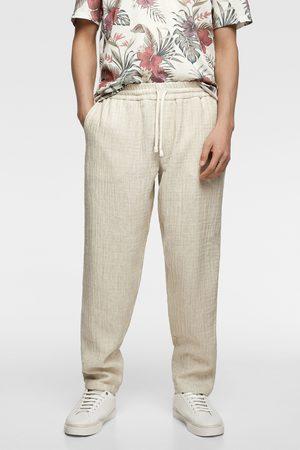 Zara Spodnie joggery z tkaniny rustykalnej