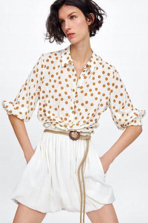 Zara Spódnica z paskiem z łączonych materiałów