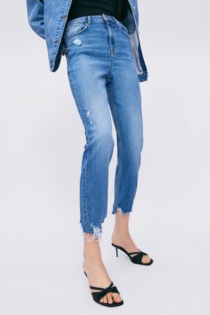 Zara Spodnie jeansowe rurki z wysokim stanem z kolekcji z1975 z rozdarciami