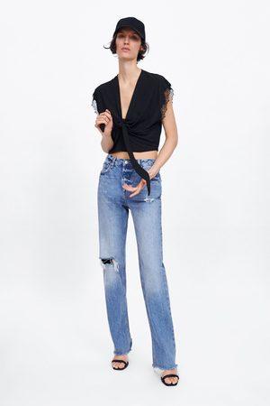 Zara Koszulka z łączonych tkanin z wiązaniem