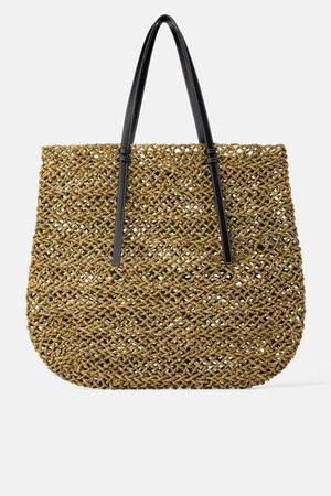 Zara Duża płaska torba typu shopper z naturalnych materiałów