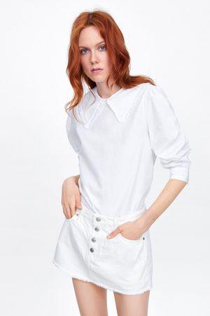 Zara Kobieta Spodnie z szeroką nogawką - Krótkie spódnicospodnie zw premium white