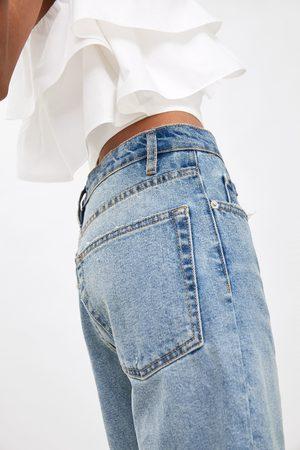 Zara Bermudy jeansowe w wysokim stanem i rozdarciami
