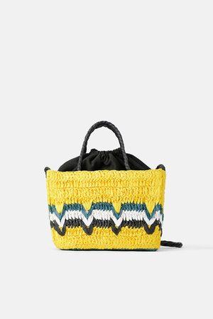 Zara Wielobarwna mini torebka typu koszyk z naturalnej plecionki