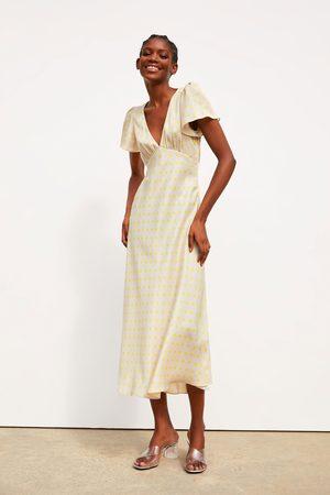Zara Sukienka z tkaniny satynowanej w kropki
