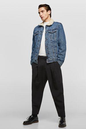 Zara Mężczyzna Kurtki jeansowe - Kurtka jeansowa ze wstawkami