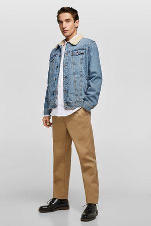 Zara Kurtka jeansowa ze sztucznym barankiem