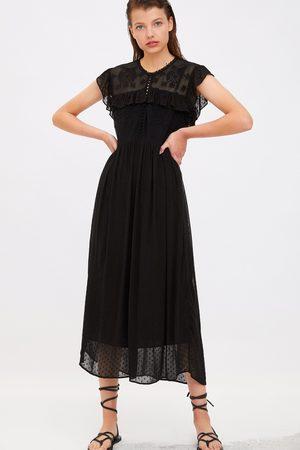 Zara Sukienka z tkaniny plumeti ze wstawkami