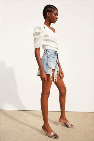 Zara Spodenki jeansowe z wysokim stanem i rozdarciami