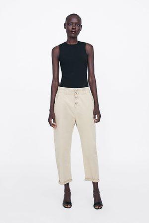 Zara Spodnie o kroju baggy z guzikami