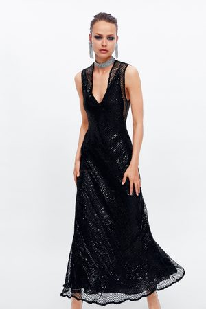 Zara Sukienka z cekinami i siateczką z limitowanej edycji
