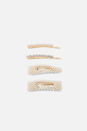 Zara Kobieta Biżuteria - Komplet spinek z perłami i biżuteryjnym zdobieniem