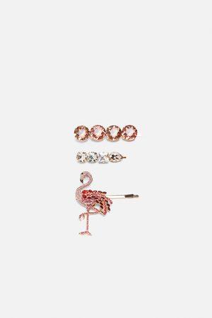 Zara Komplet spinek z flamingiem i biżuteryjnymi zdobieniami