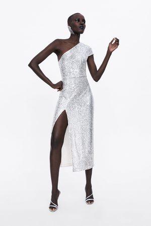 Zara Asymetryczna sukienka z cekinami