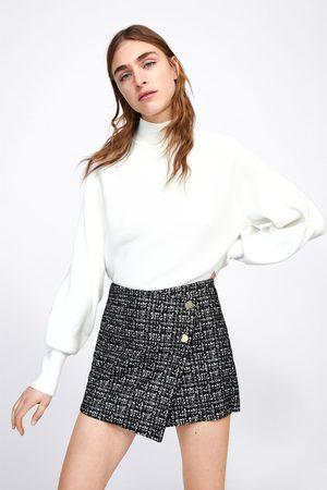 Zara Krótkie spódnicospodnie ze sztucznego zamszu